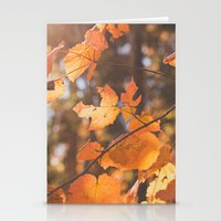 red autumn leaves Stationery Cards