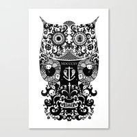 The Old Owl  - Black Canvas Print