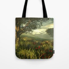 Summer tree in a poppy field Tote Bag