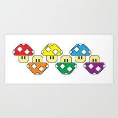 Rainbow Mushrooms Art Print