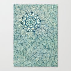 Emerald Green, Navy & Cream Floral & Leaf doodle Canvas Print