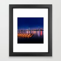Blue Night. Cambridge MA Framed Art Print