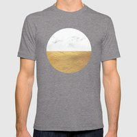Color Blocked Gold & Marble Mens Fitted Tee Tri-Grey SMALL