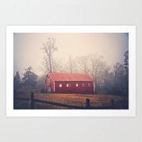 Little Red Barn in the Fog Art Print