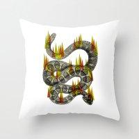 Rattlesnake On Fire! Throw Pillow
