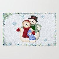 Snowman And Family Glitt… Rug