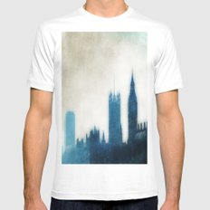 The Many Steepled London Sky White Mens Fitted Tee SMALL