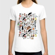 Kawaii Ghibli Doodle Womens Fitted Tee White SMALL
