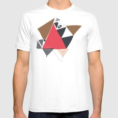 Exploding Triangles//Two White Mens Fitted Tee SMALL