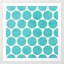 aqua polka dots Art Print