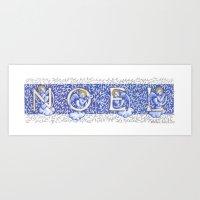 Noel Angels Blue Origina… Art Print