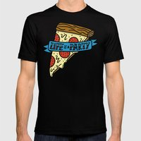 Life Is A Pizza Party Mens Fitted Tee Black SMALL