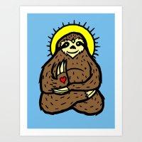 Buddha Sloth Art Print