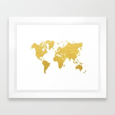 Gold World Map Framed Art Print