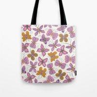 Pink + Mustard Butterflies Tote Bag