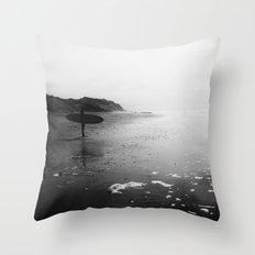 Surfer Standing on the Beach  Throw Pillow
