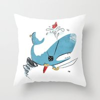 Sperm Whale Tornado Pira… Throw Pillow