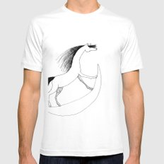 Horsie White Mens Fitted Tee SMALL