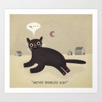 what haunts a cat? Art Print