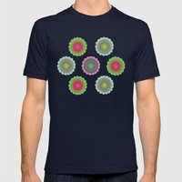 transparent floral pattern 4 Mens Fitted Tee Navy SMALL