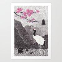 Asian Crane Art Print