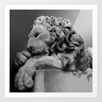 Study Of Chatsworth House Lion Art Print