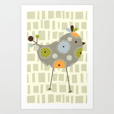 Grey Tweetie Bird Art Print