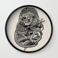 Polynesian Sloth Wall Clock
