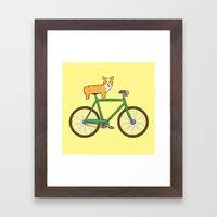 Corgi On A Bike Framed Art Print