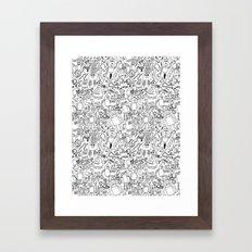 Infinity Robots Black & White Framed Art Print
