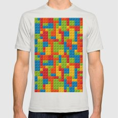 Bricks Mens Fitted Tee Silver SMALL
