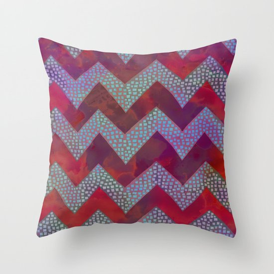 Little Squares Chevron - Red Throw Pillow