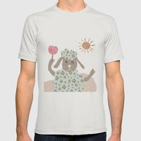 Sheep Collage Mens Fitted Tee Silver SMALL