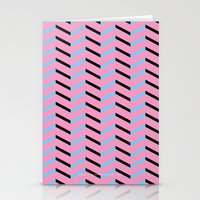 Blue And Black Chevron O… Stationery Cards