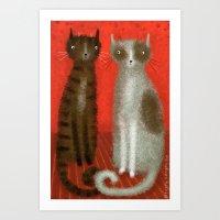 SALT & PEPPER CATS Art Print