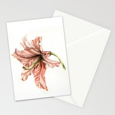 Pink Lily Flower Watercolor Stationery Cards