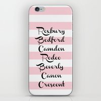 Beverly Hills Street Names Palm Trees Pink Stripes iPhone & iPod Skin