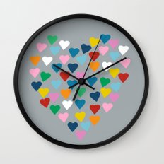Hearts Heart Multi Grey Wall Clock