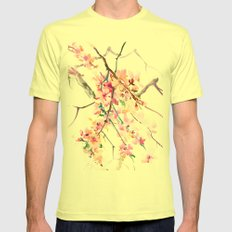 Cherry Blossom Mens Fitted Tee Lemon SMALL