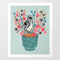 Tea And Flowers - Black … Art Print