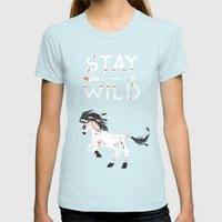 Stay Wild Womens Fitted Tee Light Blue SMALL