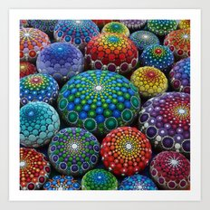Jewel Drop Mandala Stone Collection #1 Art Print