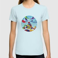 Open up Womens Fitted Tee Light Blue SMALL
