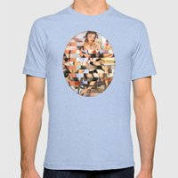 Glitch Pin-Up Redux: Whitney Mens Fitted Tee Tri-Blue SMALL