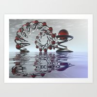 Surreal Christmas in the sky  Art Print
