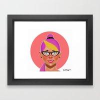 Purple hair girl Framed Art Print