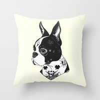 Dog - Tattooed BostonTer… Throw Pillow