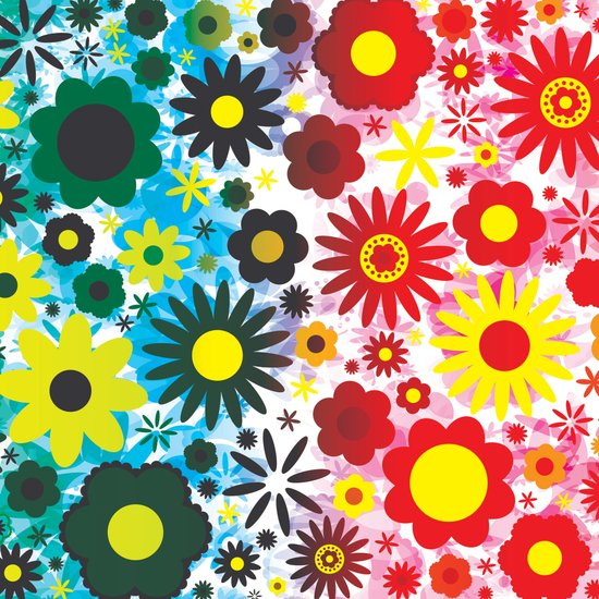 Psychedelic 60s Red Green Flower Pattern Art Print by Hippy Gift Shop ...