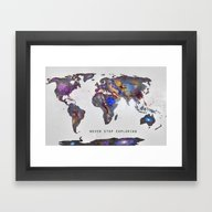 Framed Art Print featuring Star Map. Never Stop Exp… by Guido Montañés
