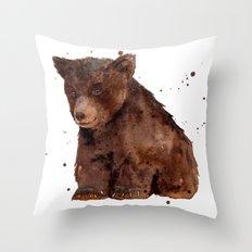 Cute Baby Bear, teddy bear, teddy, bear cub, brown bear, nursery art, woodland, bear painting Throw Pillow